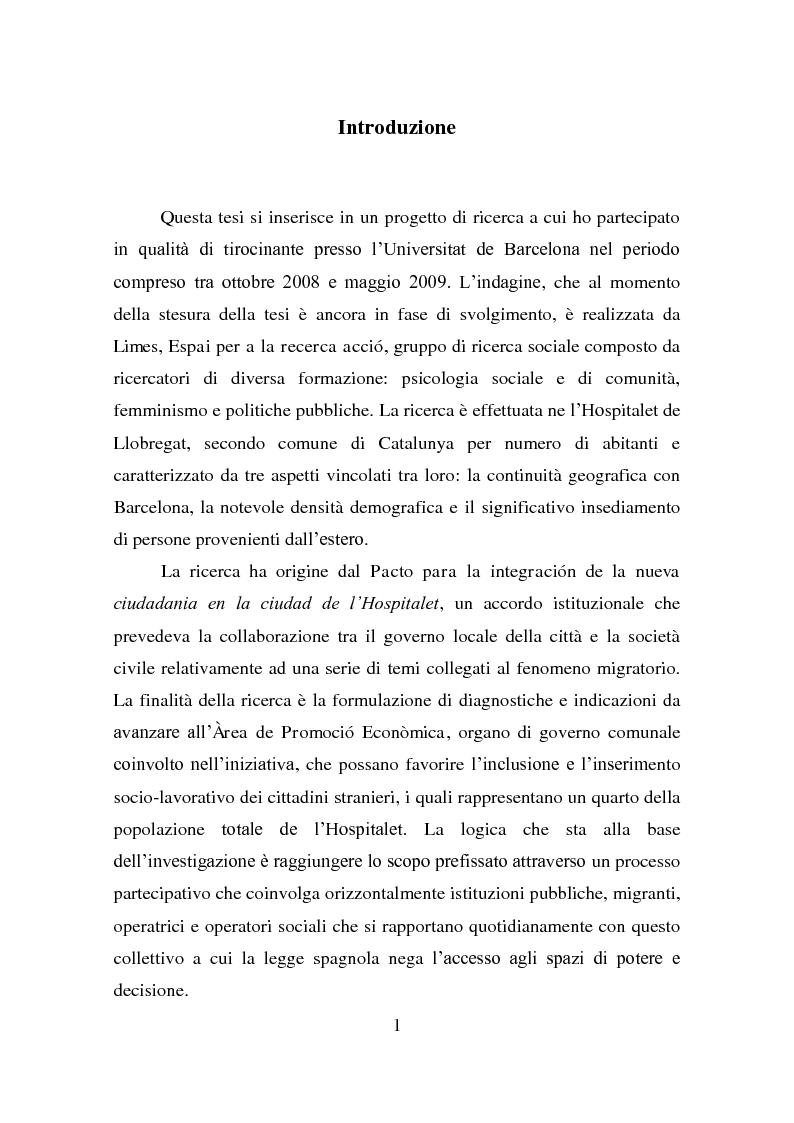 """Anteprima della tesi: Il """"Pacto para la integración de la nueva ciudadanía"""" ne l'Hospitalet de Llobregat: costruzione discorsiva del ruolo della donna e delle ragioni della migrazione, Pagina 1"""