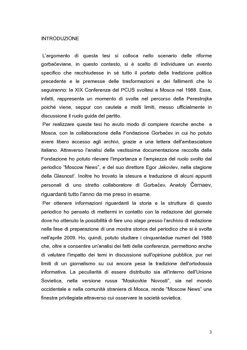 """La XIX conferenza del PCUS (1988), nelle pagine di """"Moscow News"""" - Tesi di Laurea"""