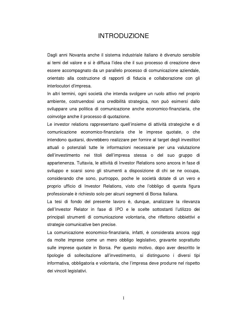 Anteprima della tesi: Il ruolo delle investor relations nel processo di quotazione, Pagina 1