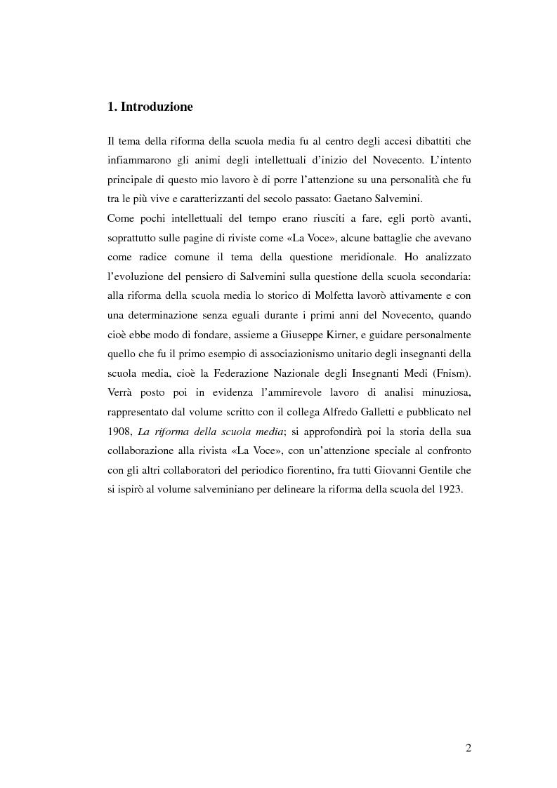 Gaetano Salvemini e la riforma della scuola media - Tesi di Laurea
