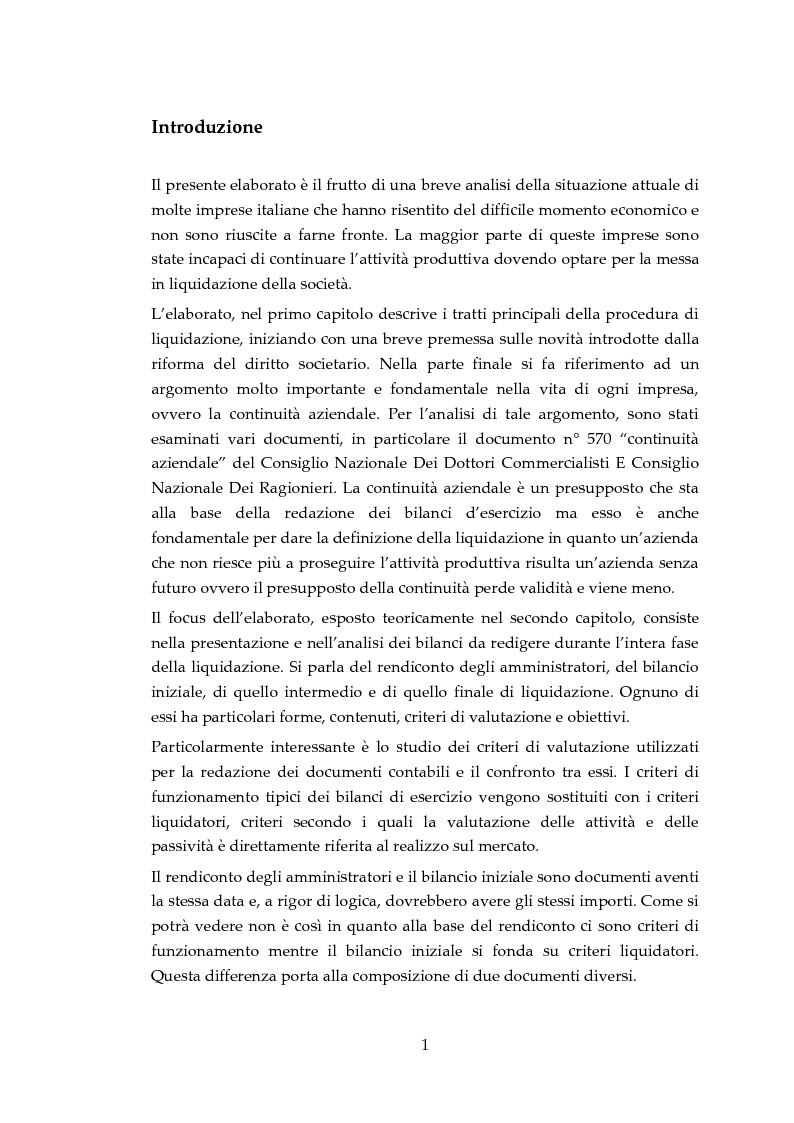 I bilanci di liquidazione: il principio Oic 5 applicato a un caso aziendale - Tesi di Laurea