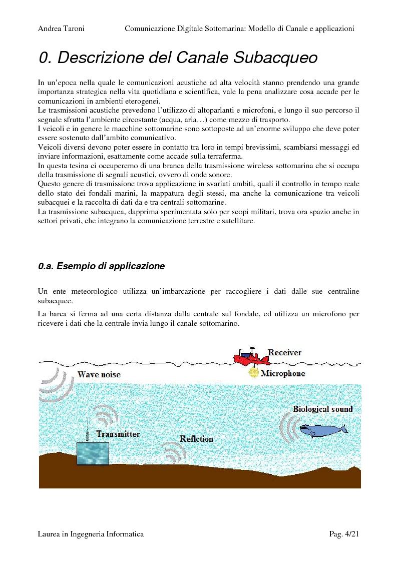 Anteprima della tesi: Underwater wireless communication: studio della trasmissione wireless di un segnale lungo il canale sottomarino, Pagina 1
