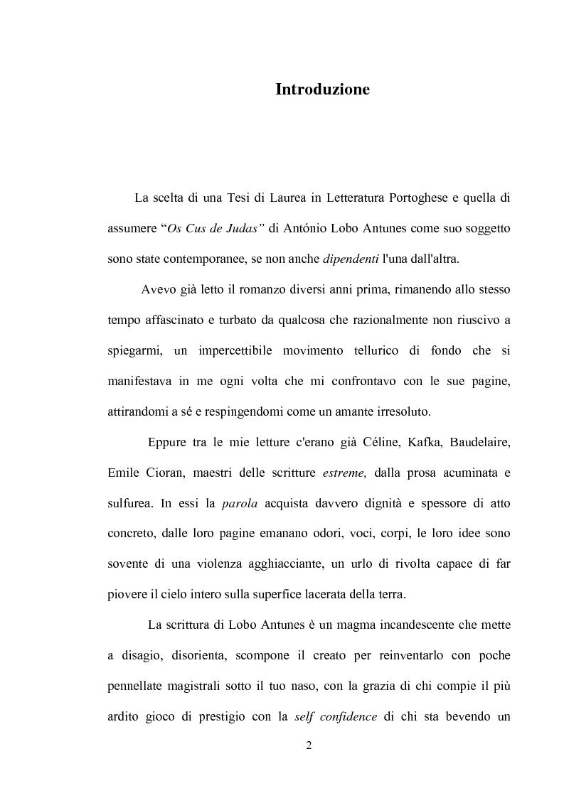 "Un doloroso apprendistato all'agonia: ""Os Cus de Judas"" di Antonio Lobo Antunes - Tesi di Laurea"