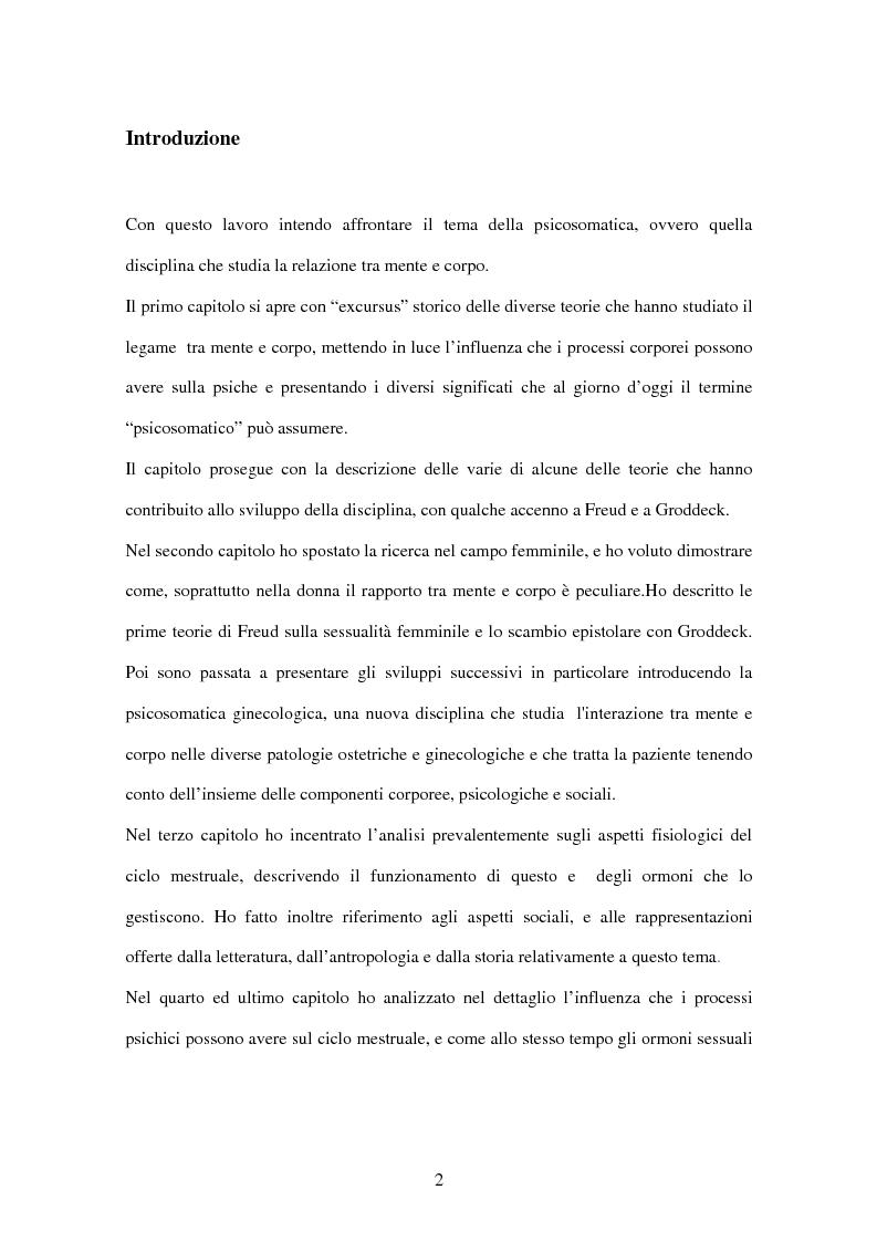 Anteprima della tesi: Influenza della mente sul corpo con particolare riferimento alla biologia femminile, Pagina 1