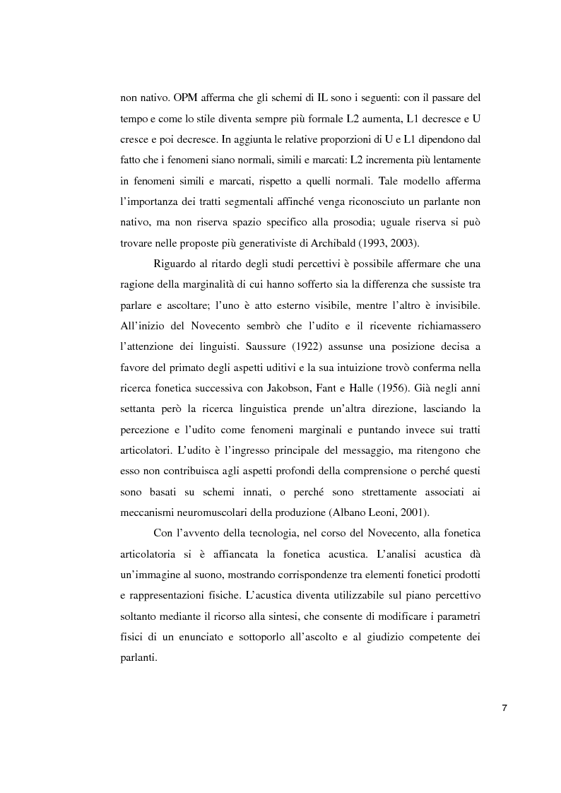 Anteprima della tesi: Studi sperimentali sulla percezione dell'accento straniero, Pagina 3
