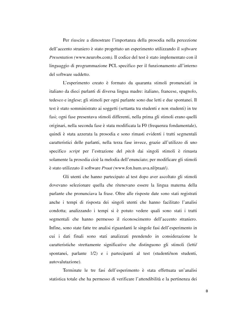 Anteprima della tesi: Studi sperimentali sulla percezione dell'accento straniero, Pagina 4