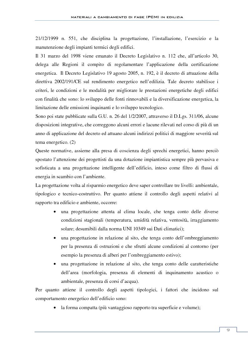 Anteprima della tesi: Materiali a cambiamento di fase in edilizia (PCM) - Sperimentazioni sull'involucro a blocchi portanti e su rivestimenti ad intonaco, Pagina 3