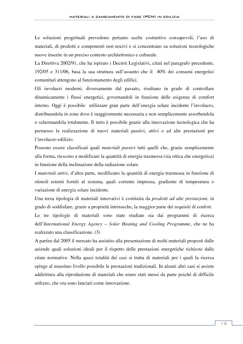 Anteprima della tesi: Materiali a cambiamento di fase in edilizia (PCM) - Sperimentazioni sull'involucro a blocchi portanti e su rivestimenti ad intonaco, Pagina 6