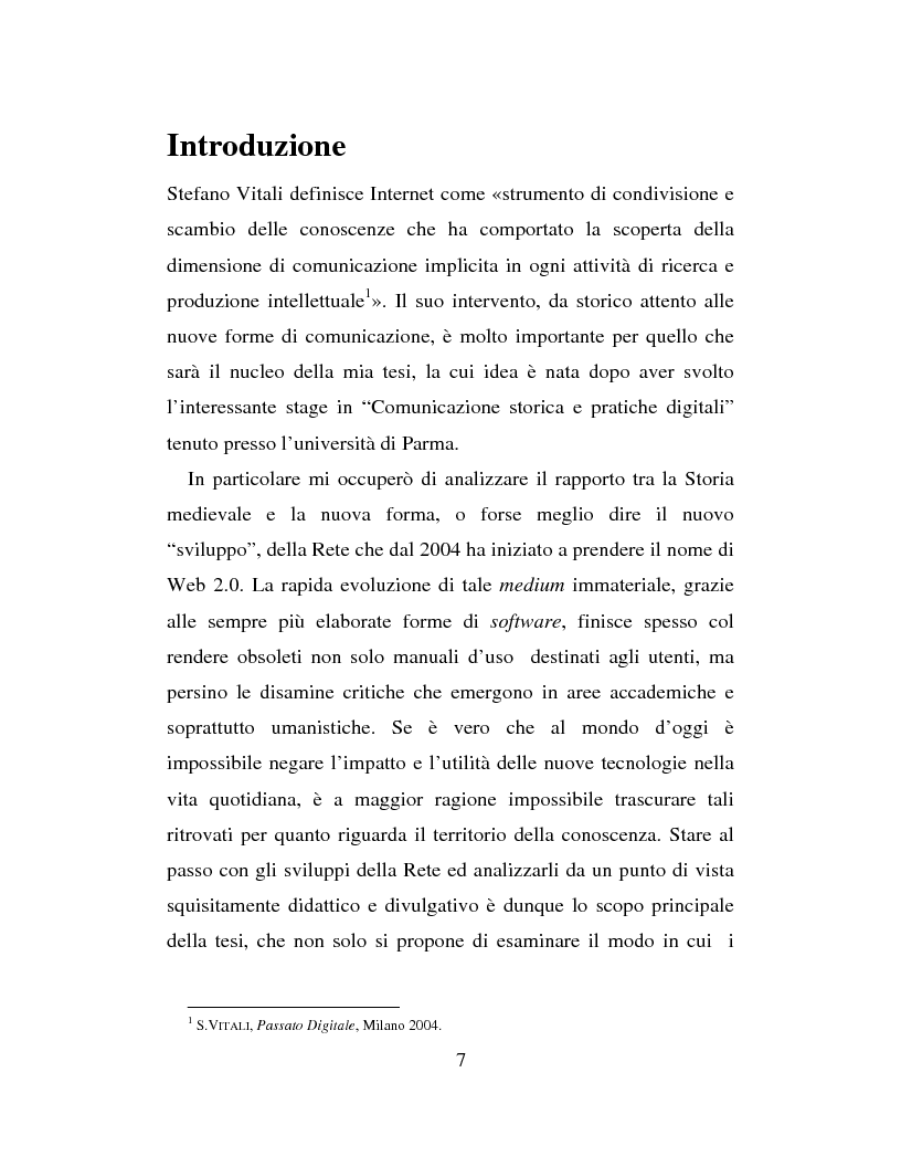 Anteprima della tesi: Nuove applicazioni telematiche per lo studio della storia medievale. Tra ricerca, didattica e divulgazione., Pagina 1