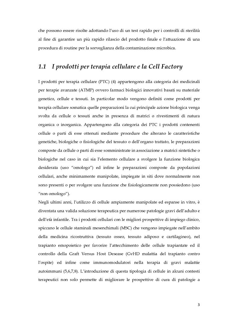 Anteprima della tesi: Validazione del test rapido di sterilità su prodotti per terapia cellulare all'interno di una cell factory ospedaliera, Pagina 2
