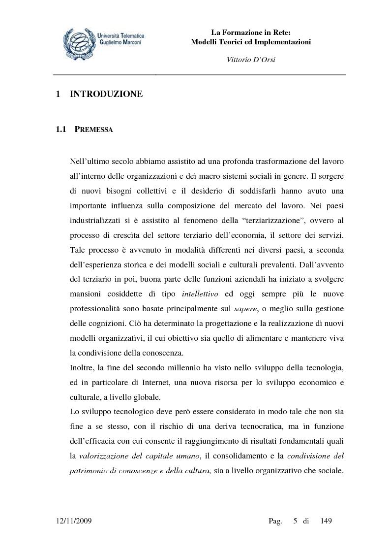 La formazione in rete, modelli teorici ed implementazioni - Tesi di Laurea
