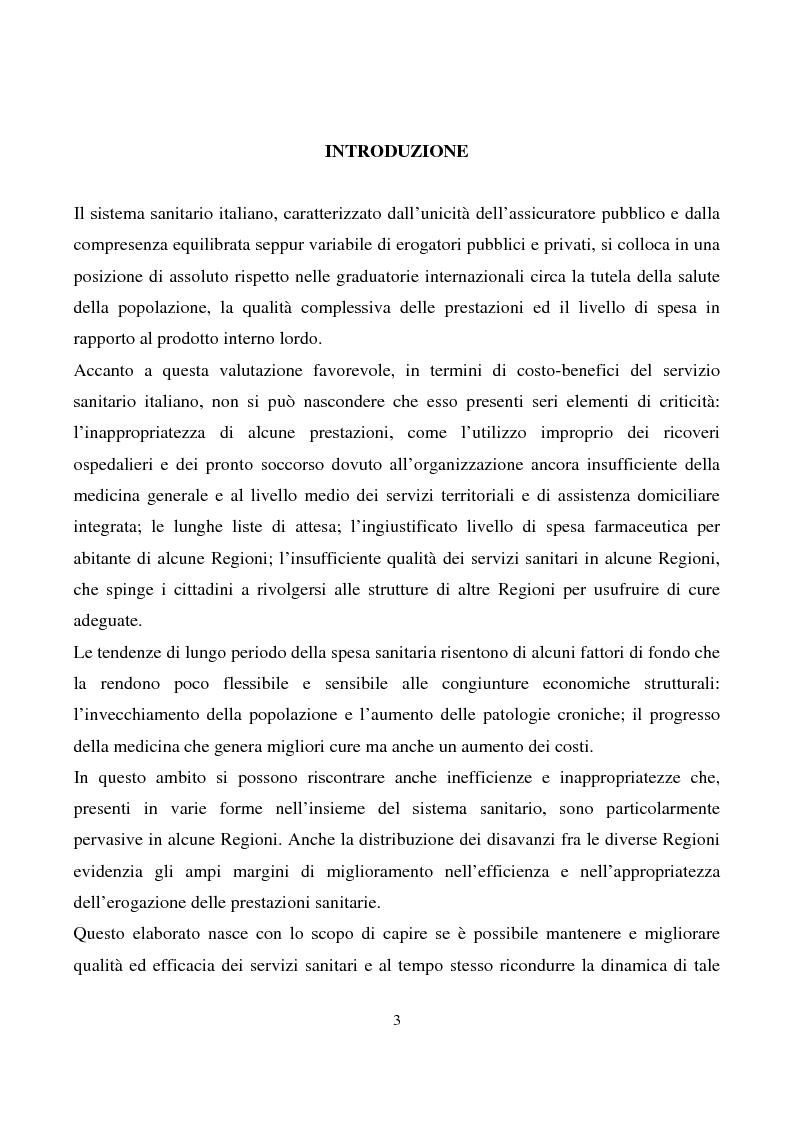 Le regole del piano di rientro abruzzese: analisi dei primi risultati - Tesi di Laurea