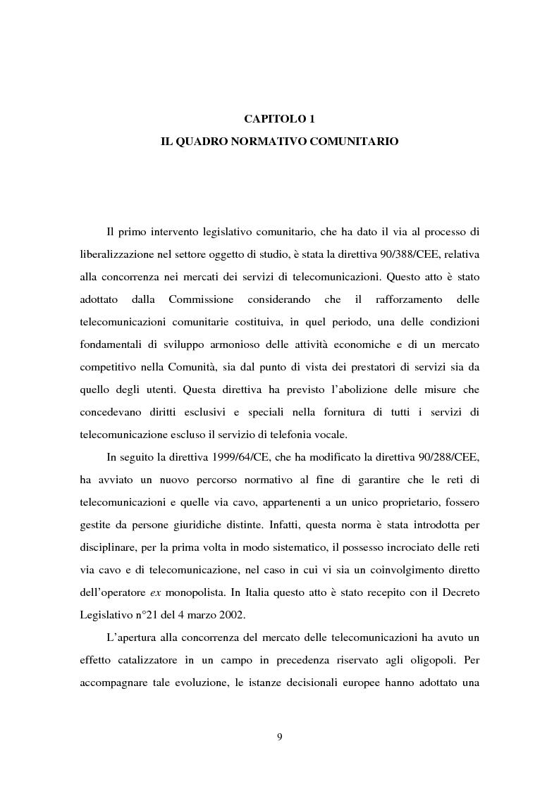 La politica della concorrenza nelle comunicazioni - Tesi di Laurea