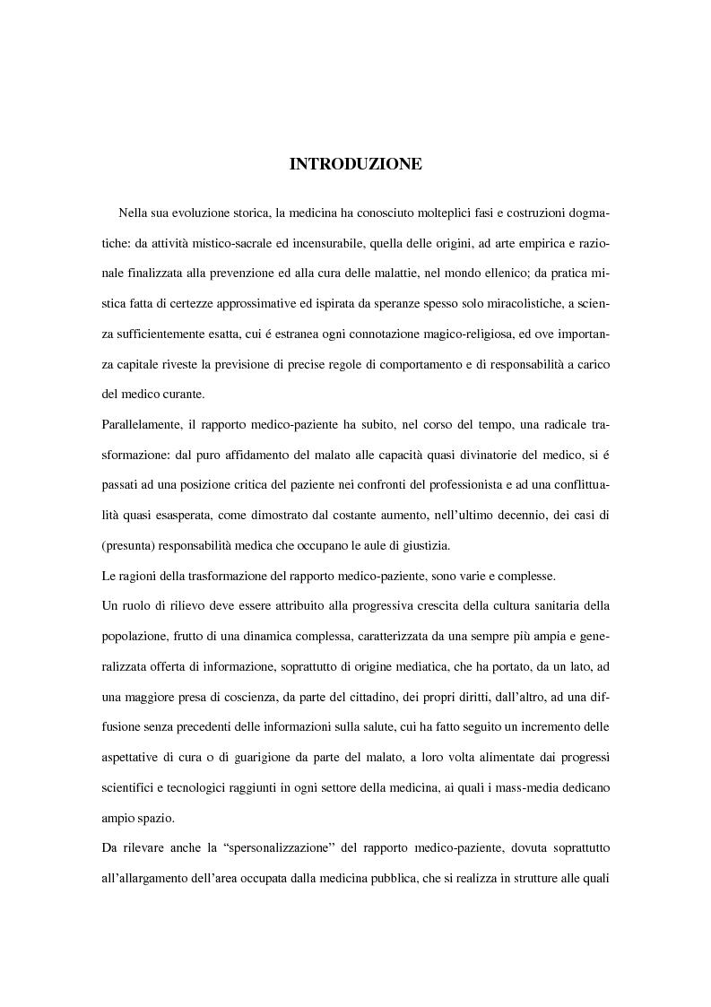 La responsabilit� civile del medico ed il consenso informato del paziente - Tesi di Laurea