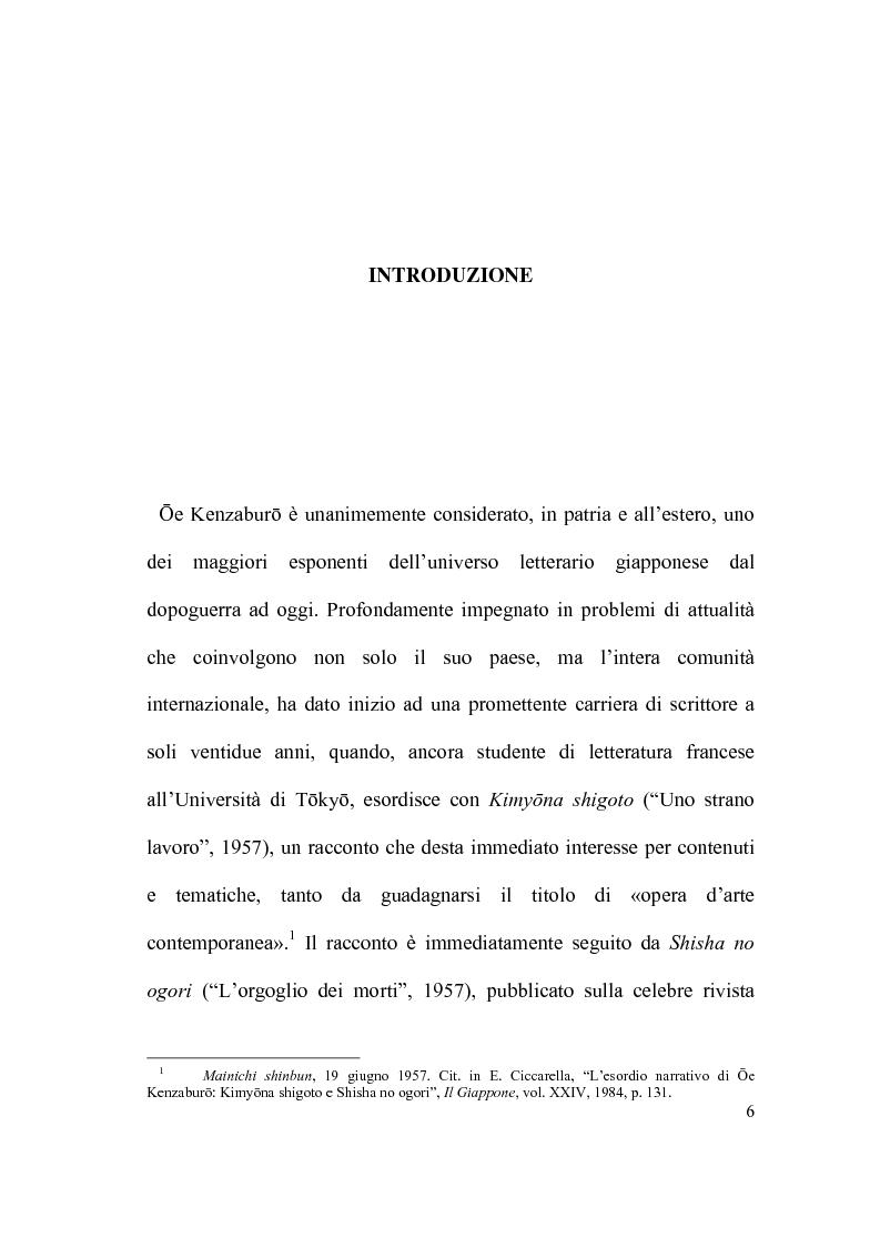 Anteprima della tesi: Il percorso letterario di Ōe Kenzaburō tra realtà, storia e ricerca letteraria, Pagina 1