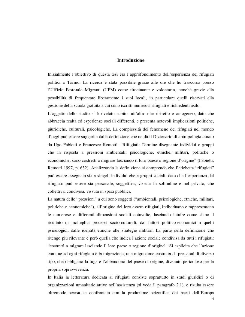 Anteprima della tesi: La migrazione forzata dei rifugiati. Prospettive antropologiche, normativa ed esperienze., Pagina 1