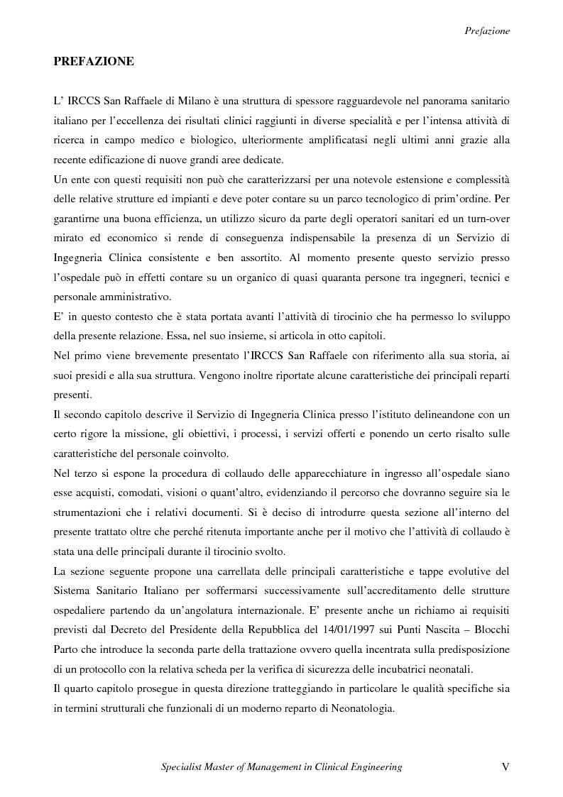 Anteprima della tesi: Attività di un Servizio di Ingegneria Clinica ed elaborazione di una metodologia per la verifica di sicurezza delle incubatrici neonatali, Pagina 1