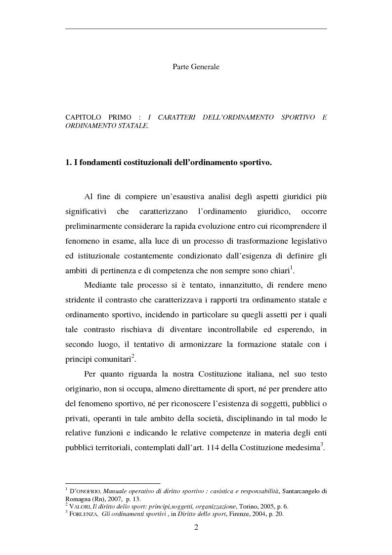 Anteprima della tesi: La responsabilità civile nello sport, Pagina 1