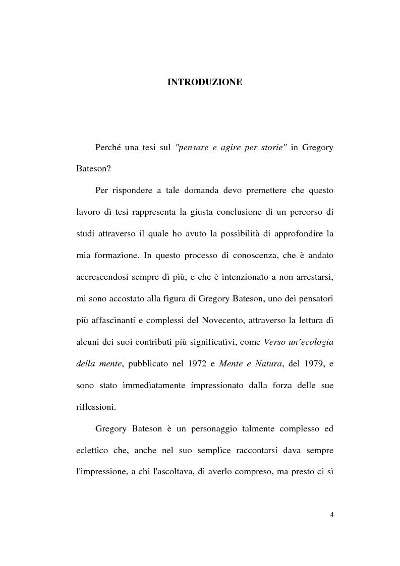 Anteprima della tesi: Pensare e agire per storie: il contributo di Gregory Bateson alla formazione autobiografica, Pagina 1