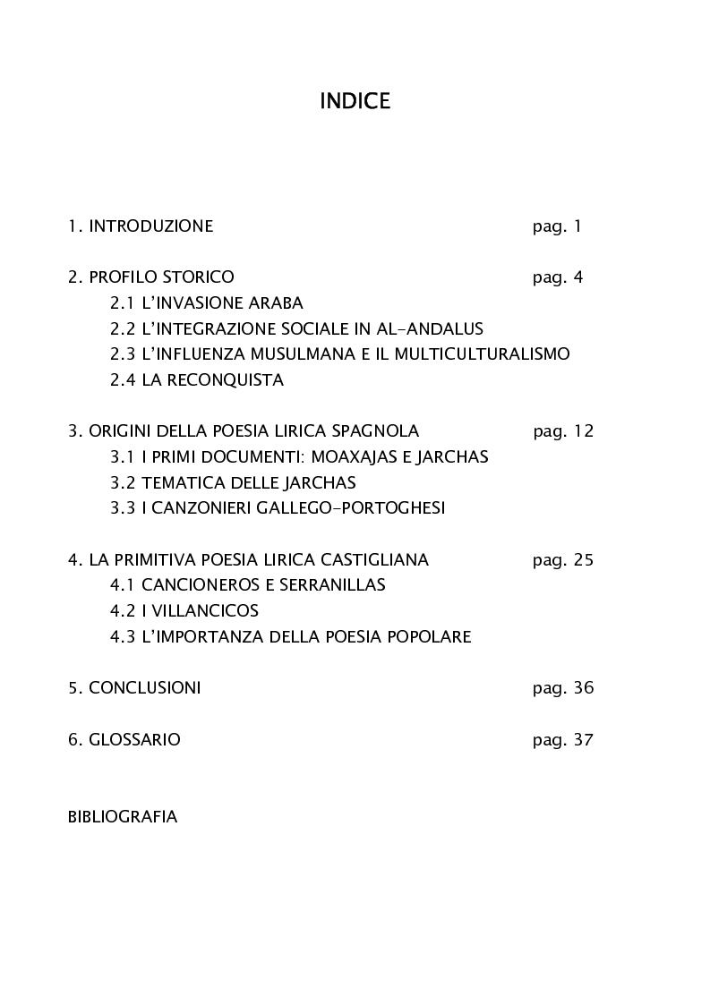 Indice della tesi: Oriente e Occidente nella poesia popolare spagnola, Pagina 1