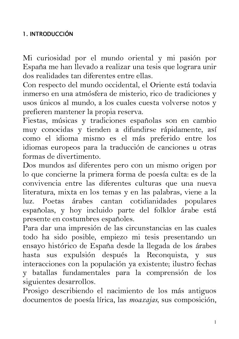 Anteprima della tesi: Oriente e Occidente nella poesia popolare spagnola, Pagina 1