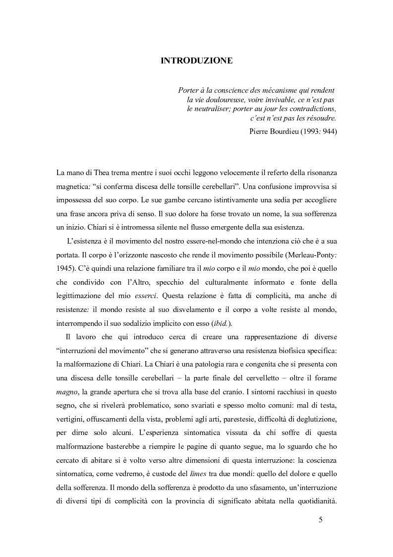 Anteprima della tesi: Essere-nel-Chiari. Corpi sofferenti, narrazioni e processi diagnostici., Pagina 1