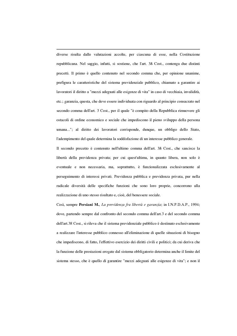 Estratto dalla tesi: La previdenza complementare, la posizione del singolo e la sua libertà