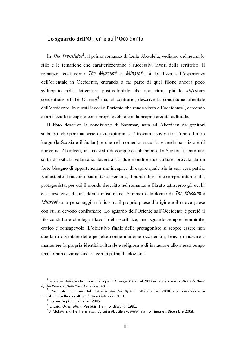 Anteprima della tesi: The Translator di Leila Aboulela: lo sguardo dell'Oriente sull'Occidente, Pagina 1