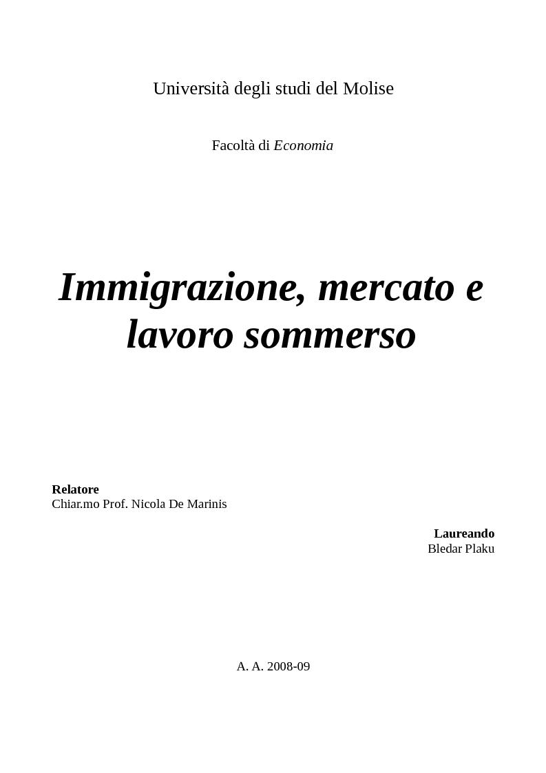 Anteprima della tesi: Immigrazione, mercato e lavoro sommerso, Pagina 1