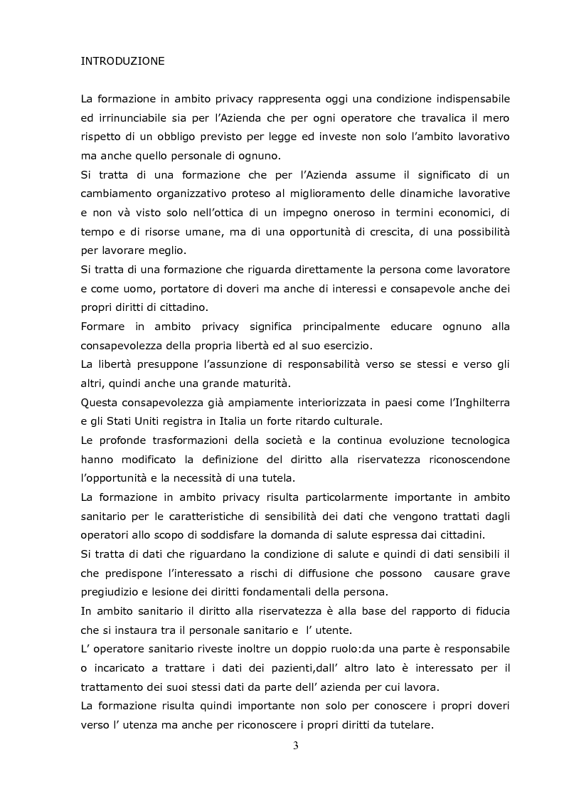 La formazione del personale in materia di privacy: progetto formativo dell'ASUR ZT 10 Camerino - Tesi di Laurea