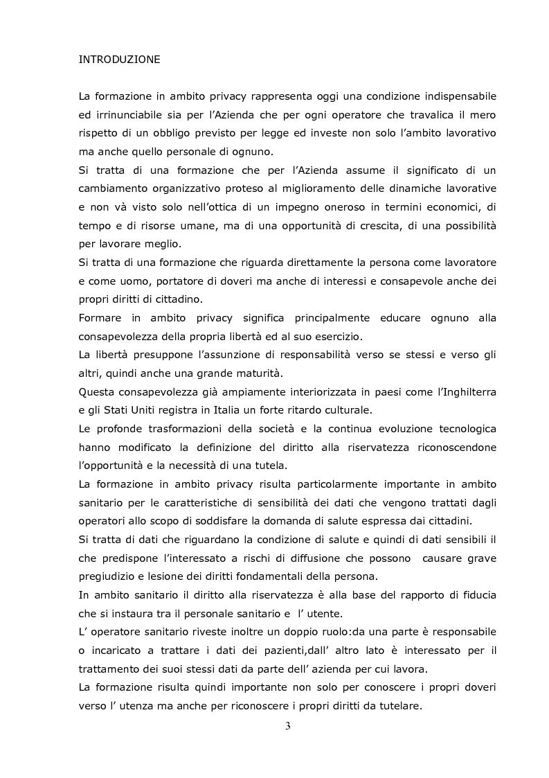 Anteprima della tesi: La formazione del personale in materia di privacy: progetto formativo dell'ASUR ZT 10 Camerino, Pagina 1