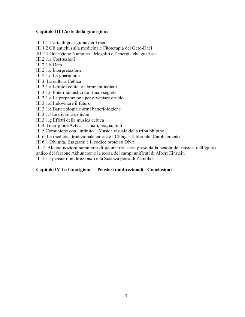Indice della tesi: Pensieri unidirezionali - La guarigione, Pagina 2