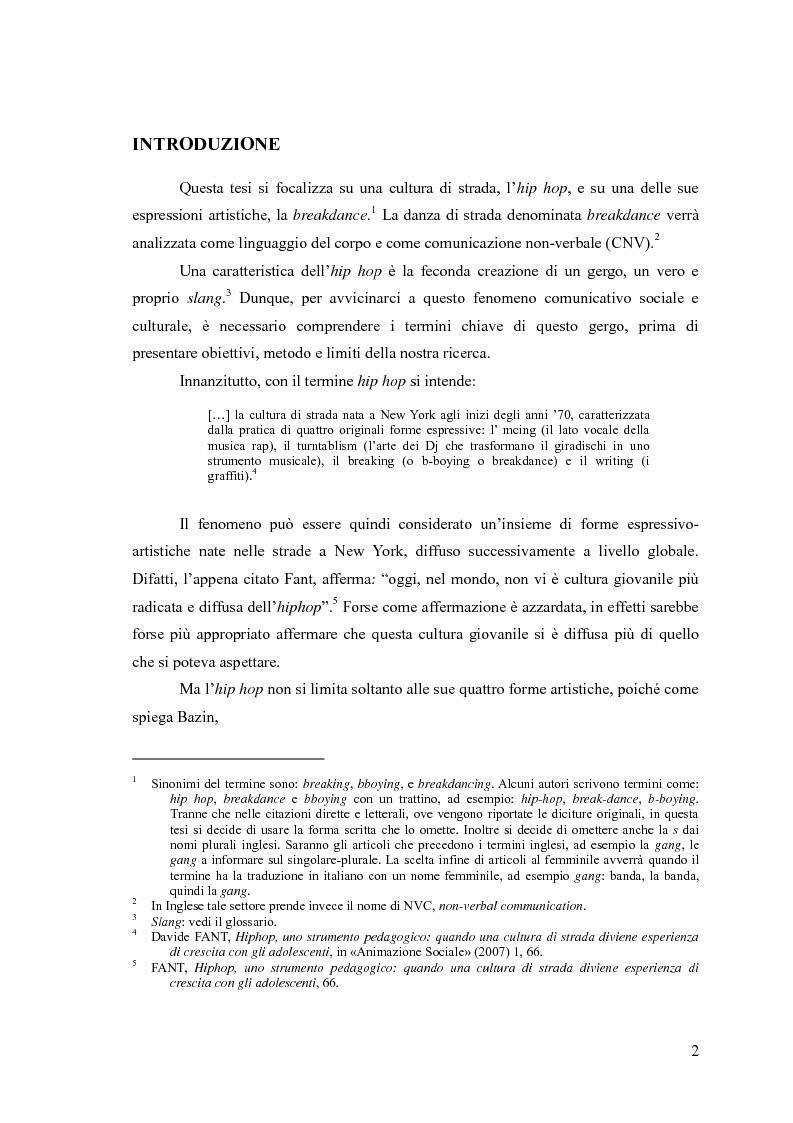 Anteprima della tesi: La breakdance, un linguaggio del corpo nell'hip hop, Pagina 1