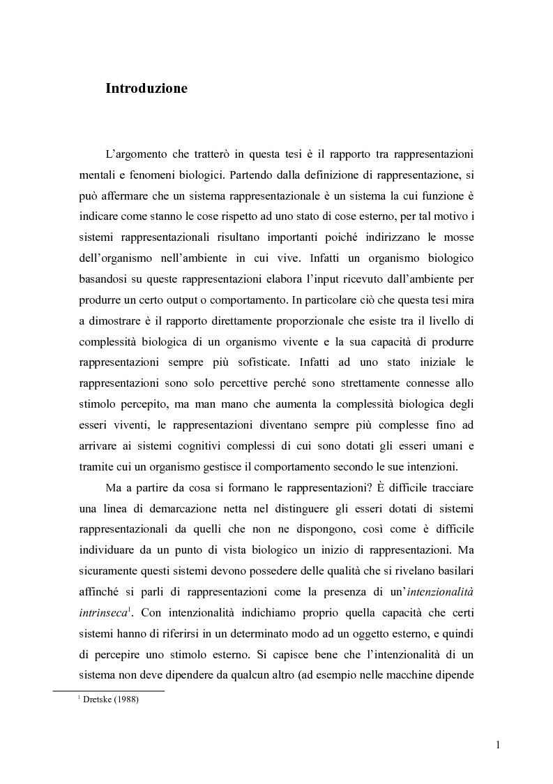 Anteprima della tesi: Le rappresentazioni mentali, una prospettiva biologica, Pagina 1