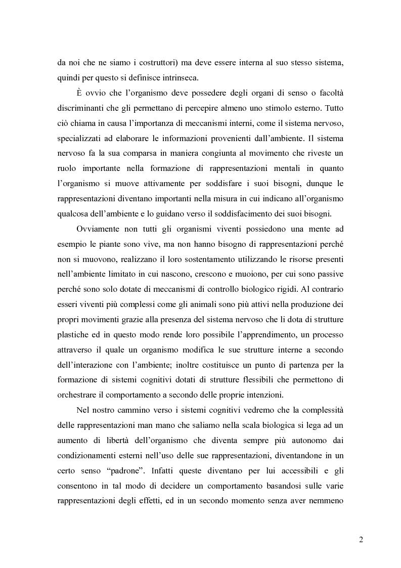 Anteprima della tesi: Le rappresentazioni mentali, una prospettiva biologica, Pagina 2