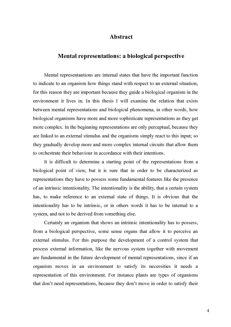 Anteprima della tesi: Le rappresentazioni mentali, una prospettiva biologica, Pagina 4