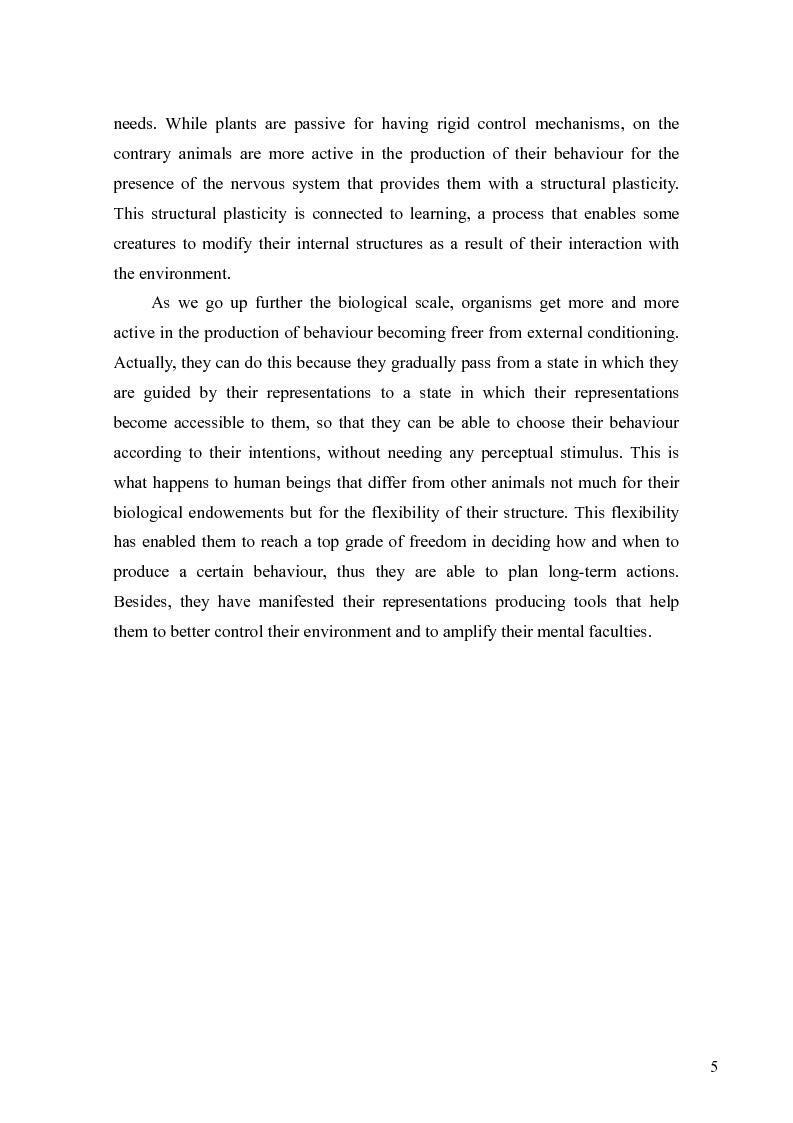 Anteprima della tesi: Le rappresentazioni mentali, una prospettiva biologica, Pagina 5