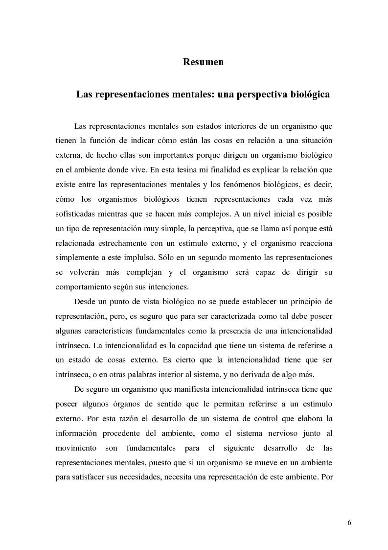 Anteprima della tesi: Le rappresentazioni mentali, una prospettiva biologica, Pagina 6