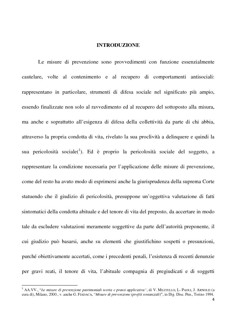 Anteprima della tesi: La confisca dei beni nei procedimenti per i reati di criminalità organizzata, Pagina 1
