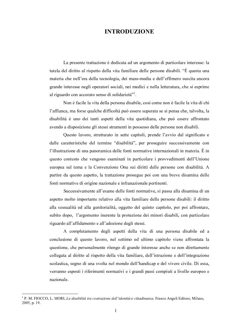 Anteprima della tesi: Il diritto al rispetto della vita familiare delle persone disabili , Pagina 1