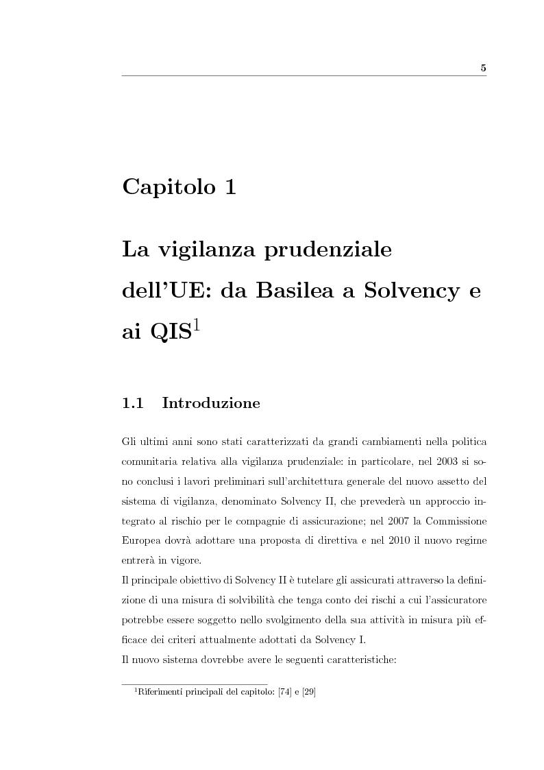 Anteprima della tesi: Verso Solvency II: gli studi di impatto quantitativo e la tematica del costo del capitale, Pagina 5