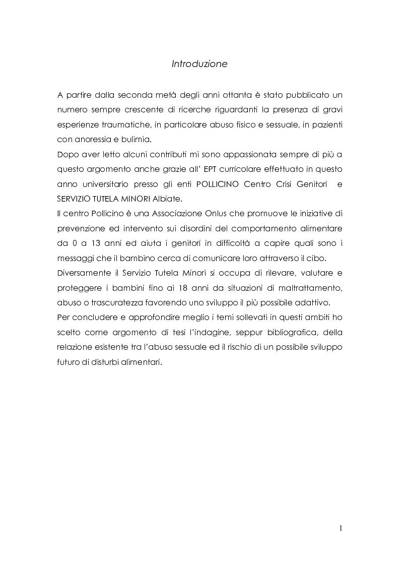 Anteprima della tesi: Esperienze pregresse di abuso sessuale e disturbi alimentari, Pagina 1