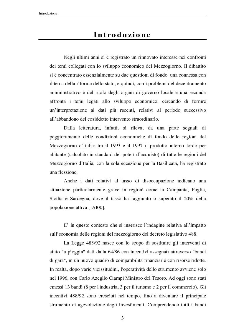 Anteprima della tesi: Effetti della legge 488/92 Turismo nel Mezzogiorno, Pagina 1