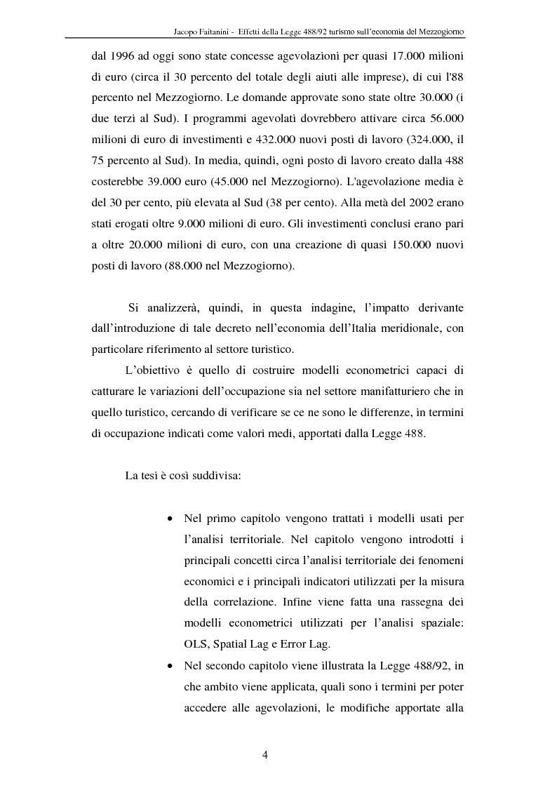 Anteprima della tesi: Effetti della legge 488/92 Turismo nel Mezzogiorno, Pagina 2