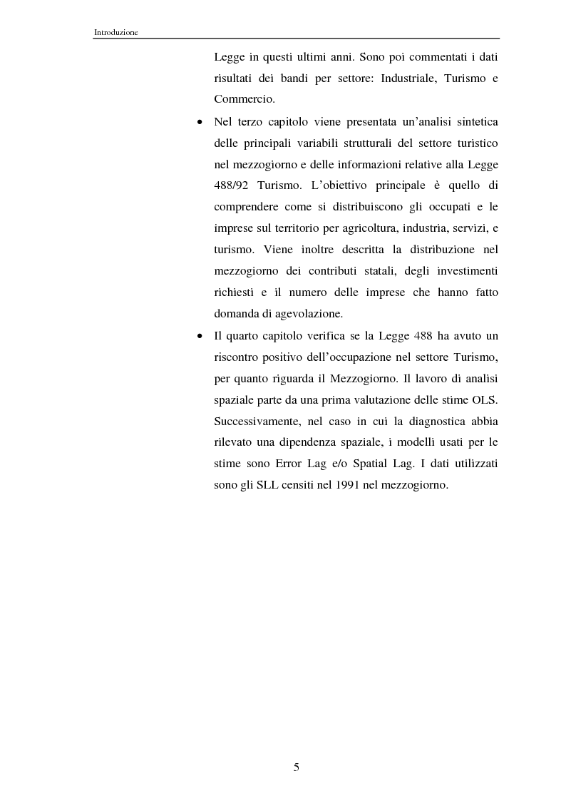 Anteprima della tesi: Effetti della legge 488/92 Turismo nel Mezzogiorno, Pagina 3