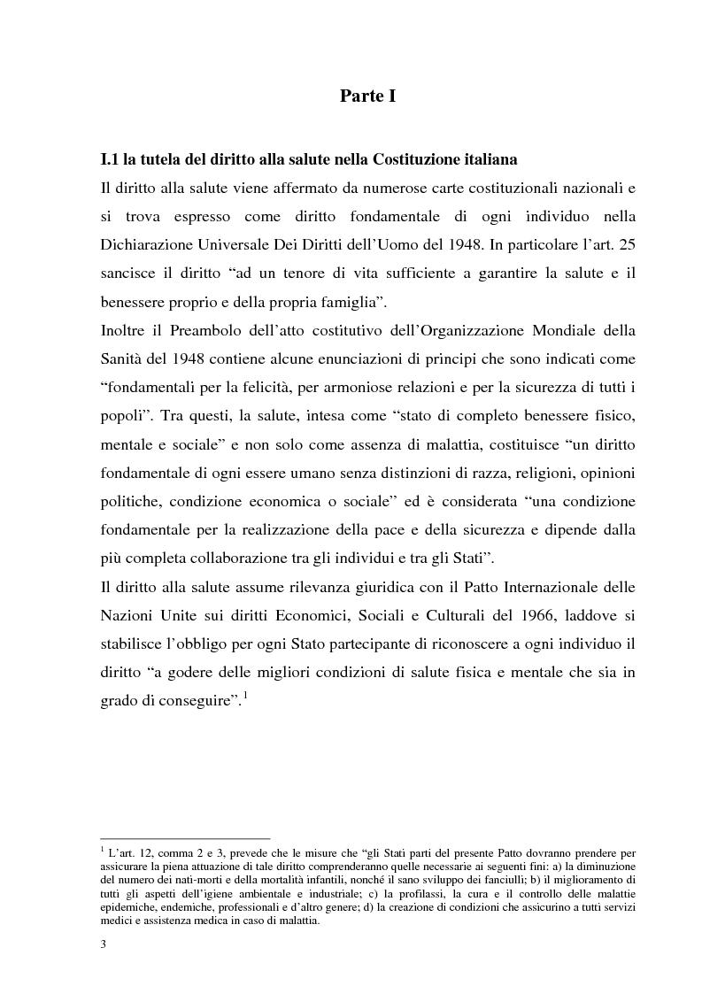 Anteprima della tesi: La tutela della salute nell'ordinamento multilivello. Nuovi modelli di Welfare per l'attuazione della riforma del Titolo V della Costituzione., Pagina 1