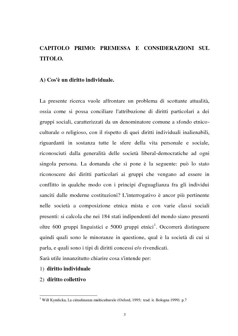 Anteprima della tesi: Diritti individuali e collettivi nella società multiculturale, Pagina 1