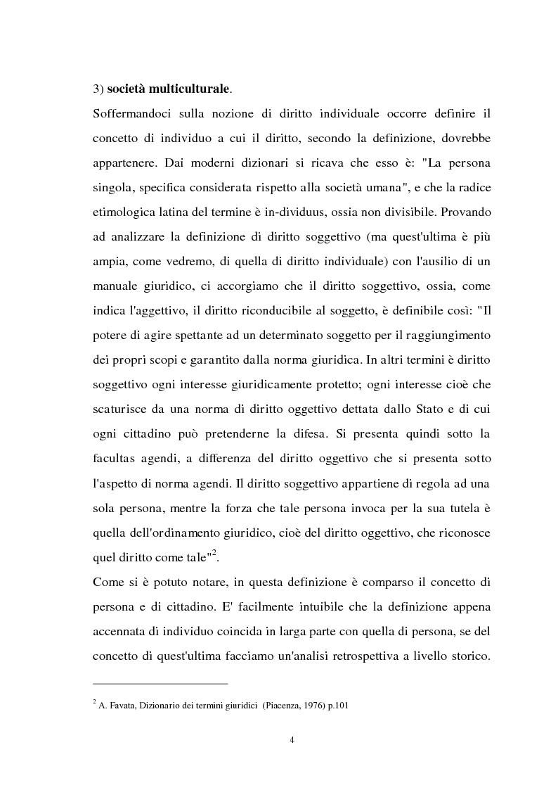 Anteprima della tesi: Diritti individuali e collettivi nella società multiculturale, Pagina 2