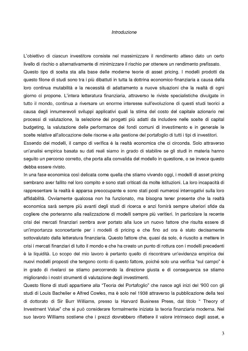 Anteprima della tesi: La liquidità nei modelli di asset pricing, Pagina 1