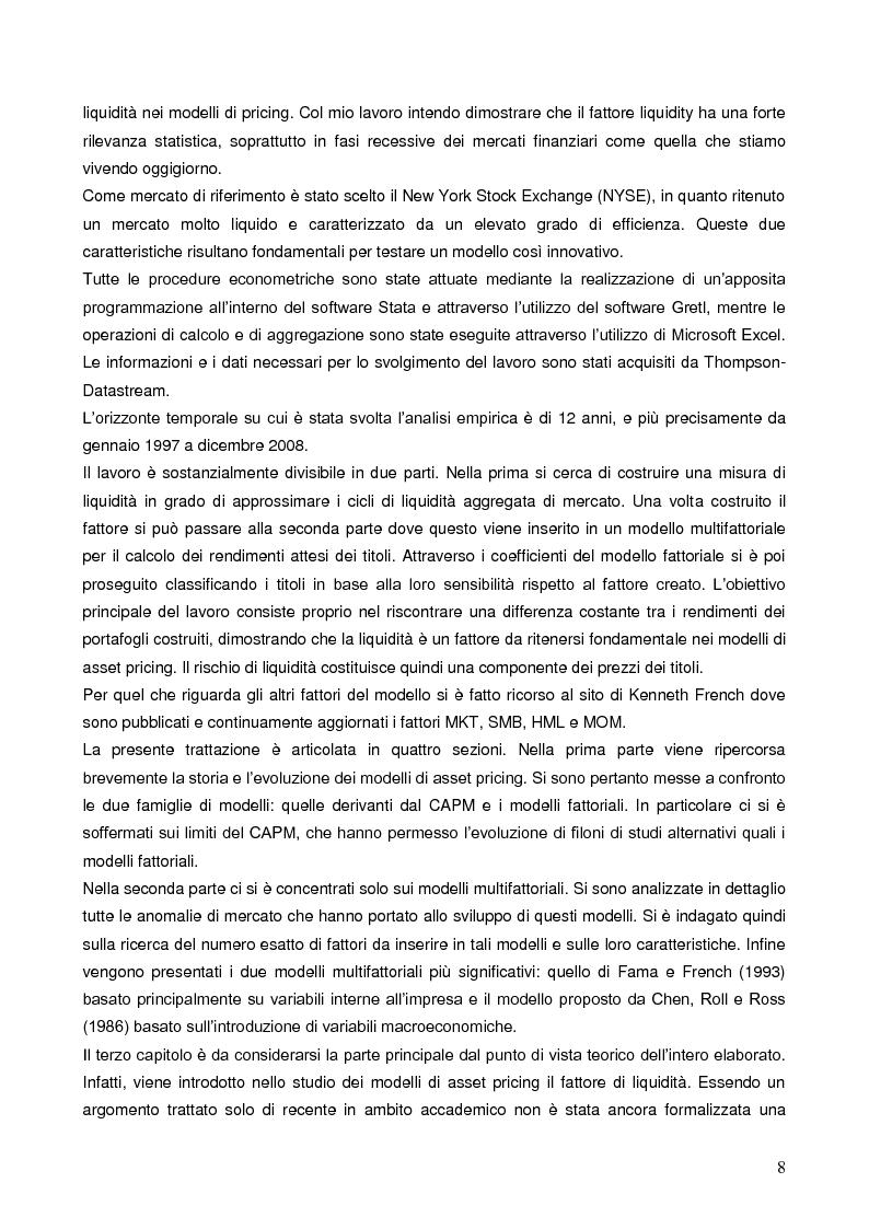 Anteprima della tesi: La liquidità nei modelli di asset pricing, Pagina 6